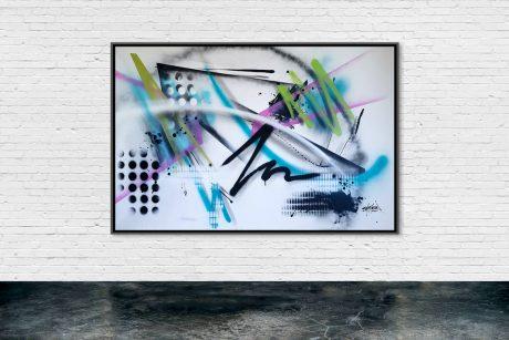 Titre: P1020. Dimension Oeuvre: 146 x 89 cm. Technique: Peinture aérosol sur toile. Année: 2020. (Disponible)